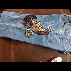 Ruby Red Embroidered jeans size 6